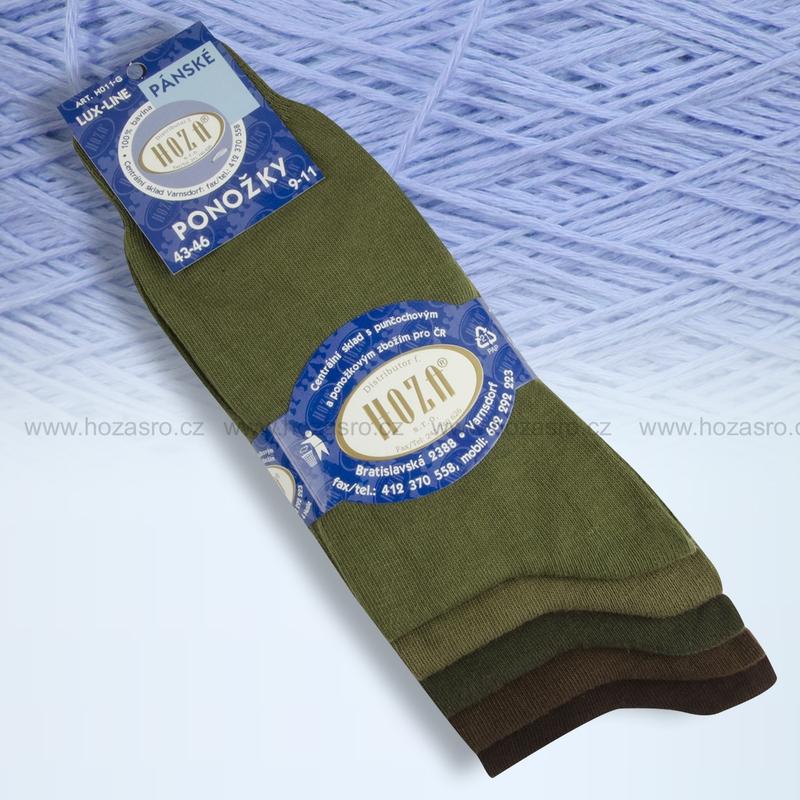 Pánské ponožky HOZA 100% bavlna-zelený mix-5 párů  9726762900
