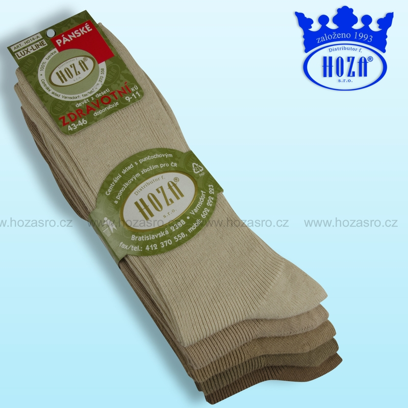 Pánské zdravotní ponožky HOZA 100% bavlna-hnědý mix-5 párů ... 2bc0e3dfe9