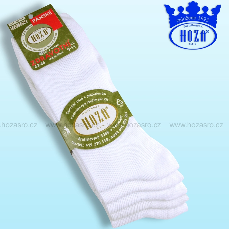 Pánské zdravotní ponožky HOZA 100% bavlna-bílý mix-5 párů  7009aa13c2