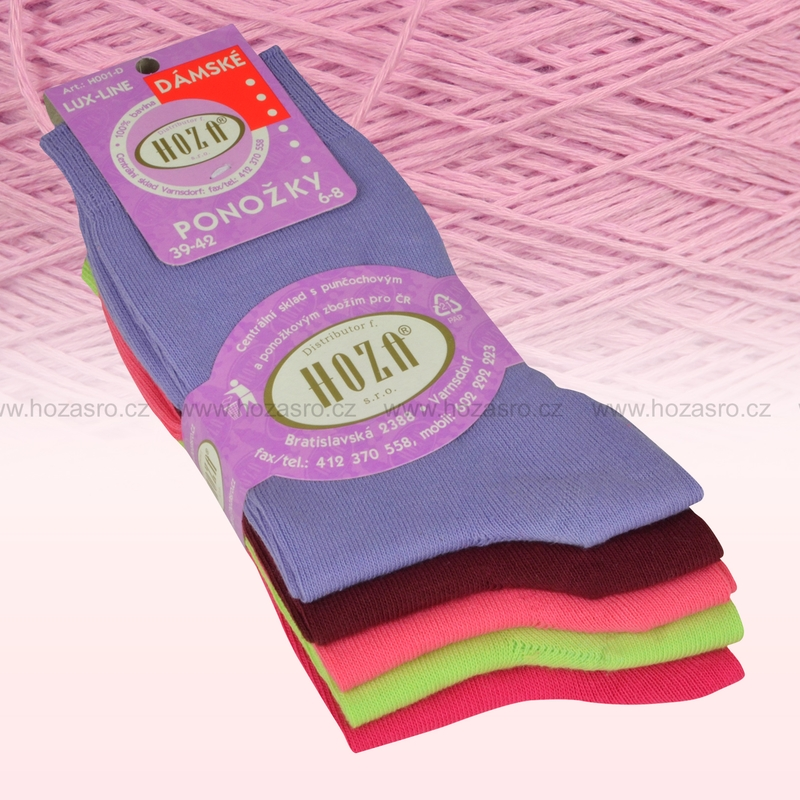 Dámské ponožky HOZA 100% bavlna-barevný mix-5 párů  e28034d138
